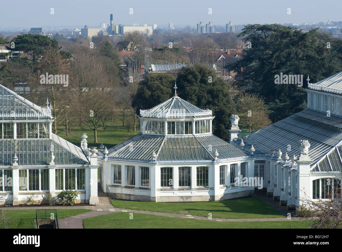 View of the Temperate House from the Tree Top Walk, Royal Botanic Gardens (Kew Gardens), Kew, Surrey, England, United - Stock Image