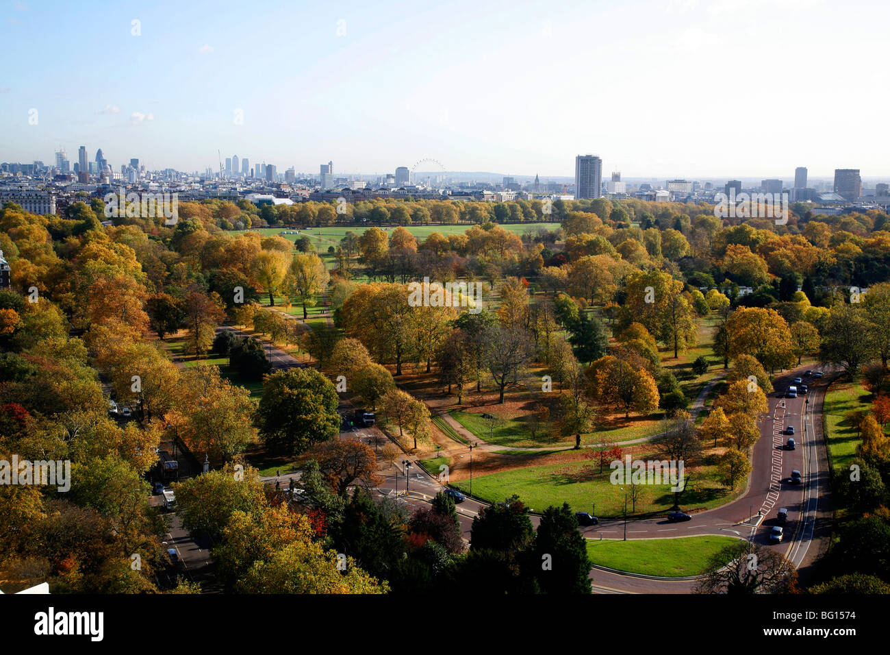 Aerial view over Hyde Park towards West End and the City of London, London, UK Stock Photo