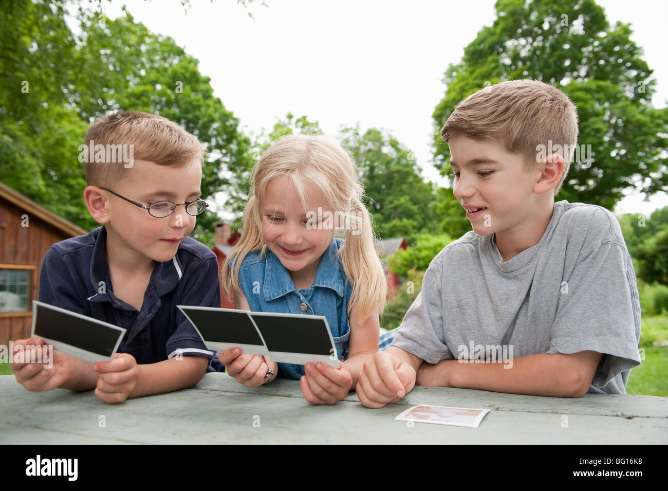 Children looking at photos together - Stock Image