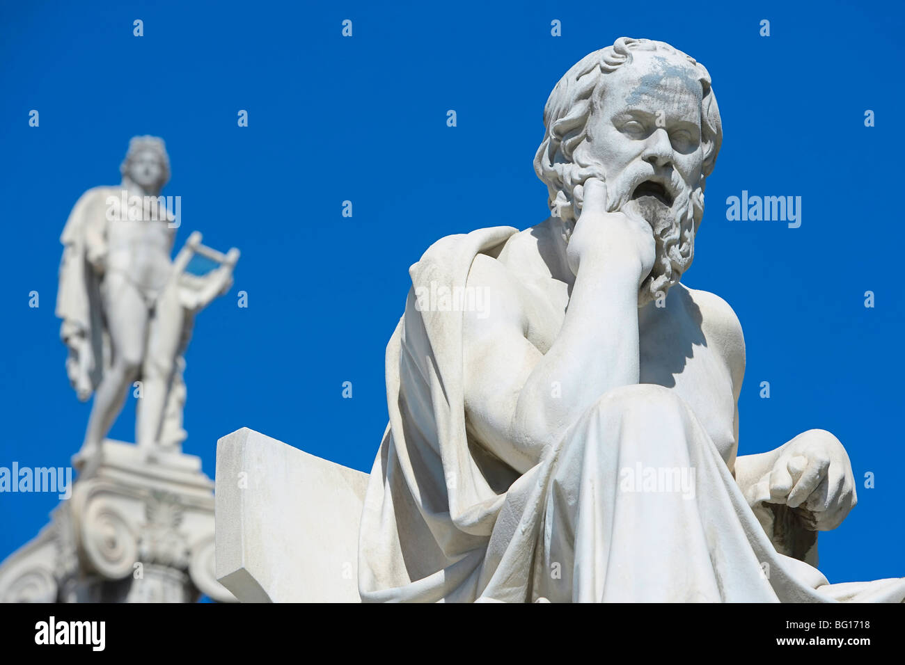 Statues of Socrates and Apollo outside Academy of Athens, Athens, Greece, Europe - Stock Image