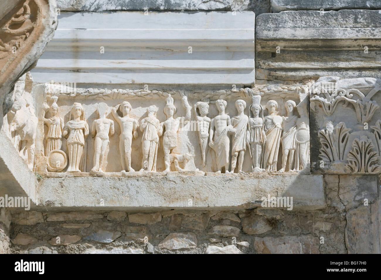 Frieze, Hadrian Temple, Ephesus, Anatolia, Turkey, Asia Minor, Eurasia - Stock Image