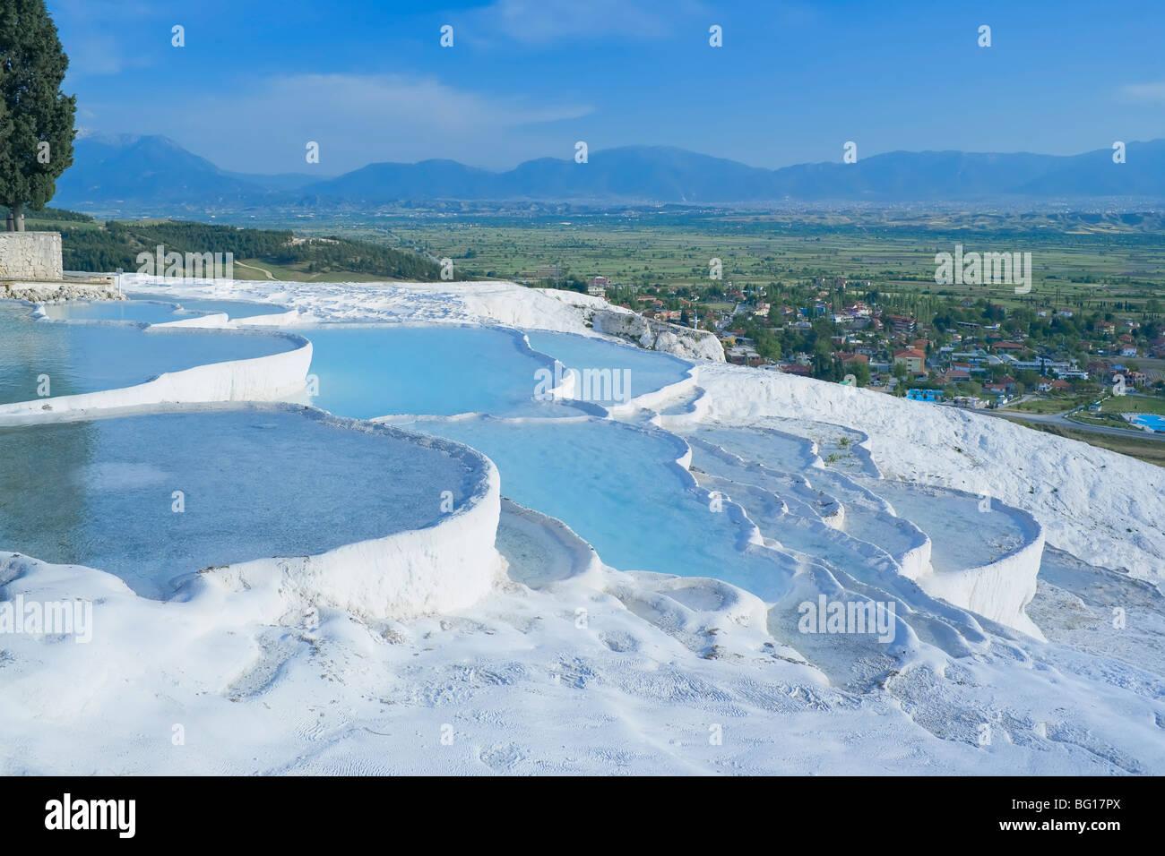 Terraced travertine thermal pools, Pamukkale, UNESCO World Heritage Site, Anatolia, Turkey, Asia Minor, Eurasia - Stock Image