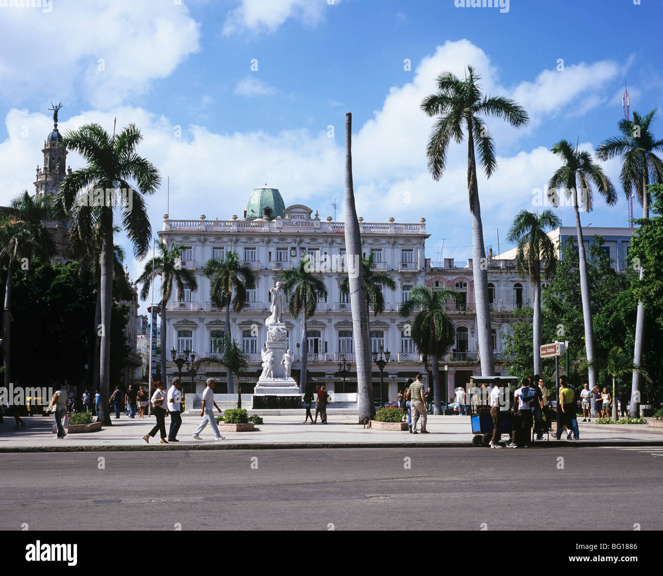 Parque Central and Hotel Inglaterra, Havana, Cuba, West Indies, Central America - Stock Image