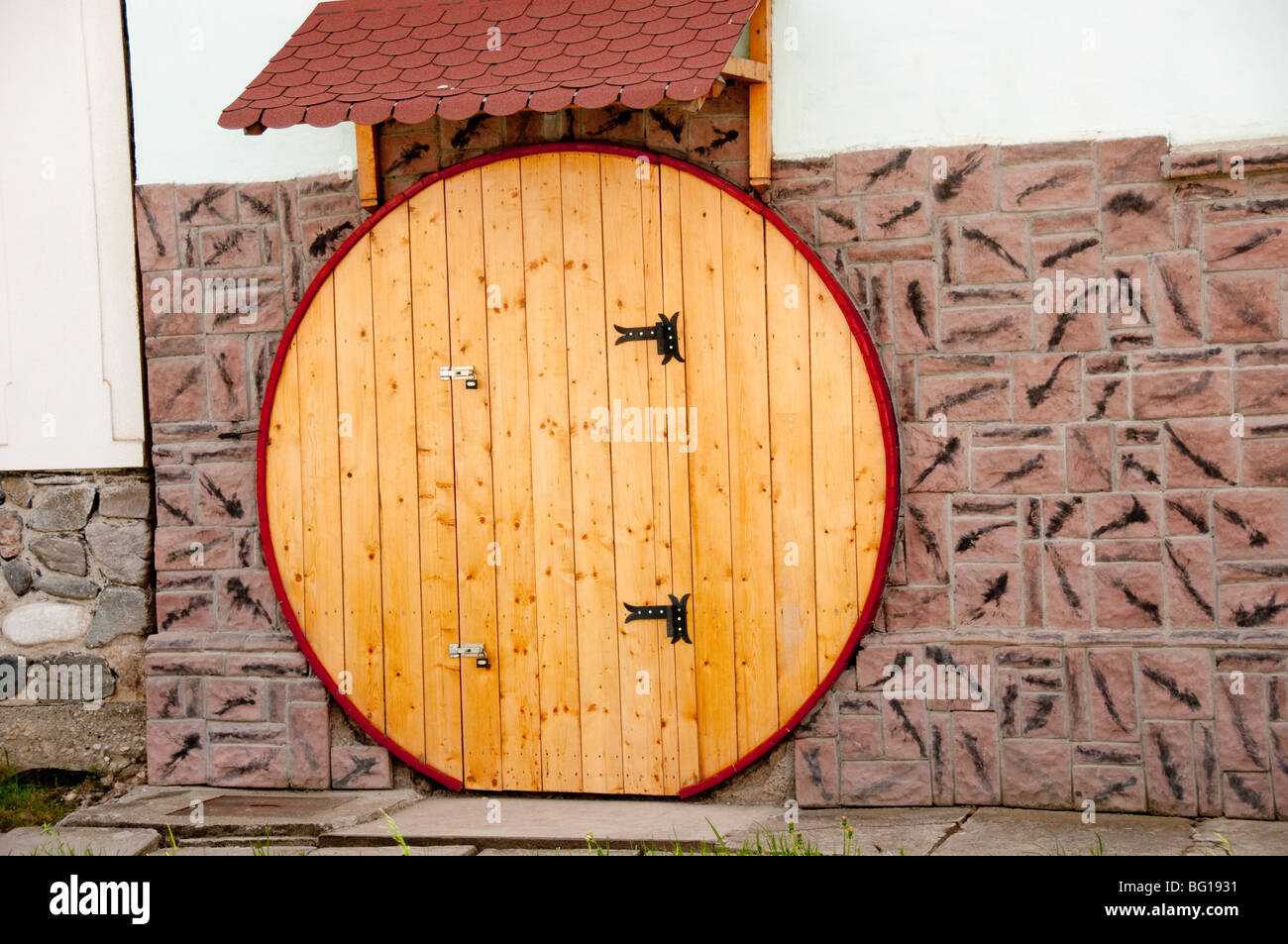 Round Circular Wooden Door On House In Sura Mica Romania Eastern Europe