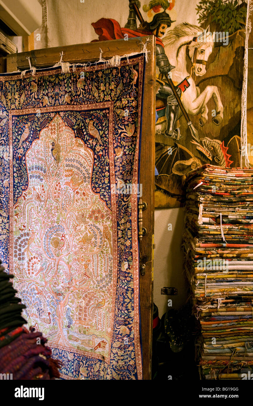 Africa, Egypt, Sharm el Sheik, carpets, bazaar, market, color, Crafts, souvenir, Antiques, - Stock Image