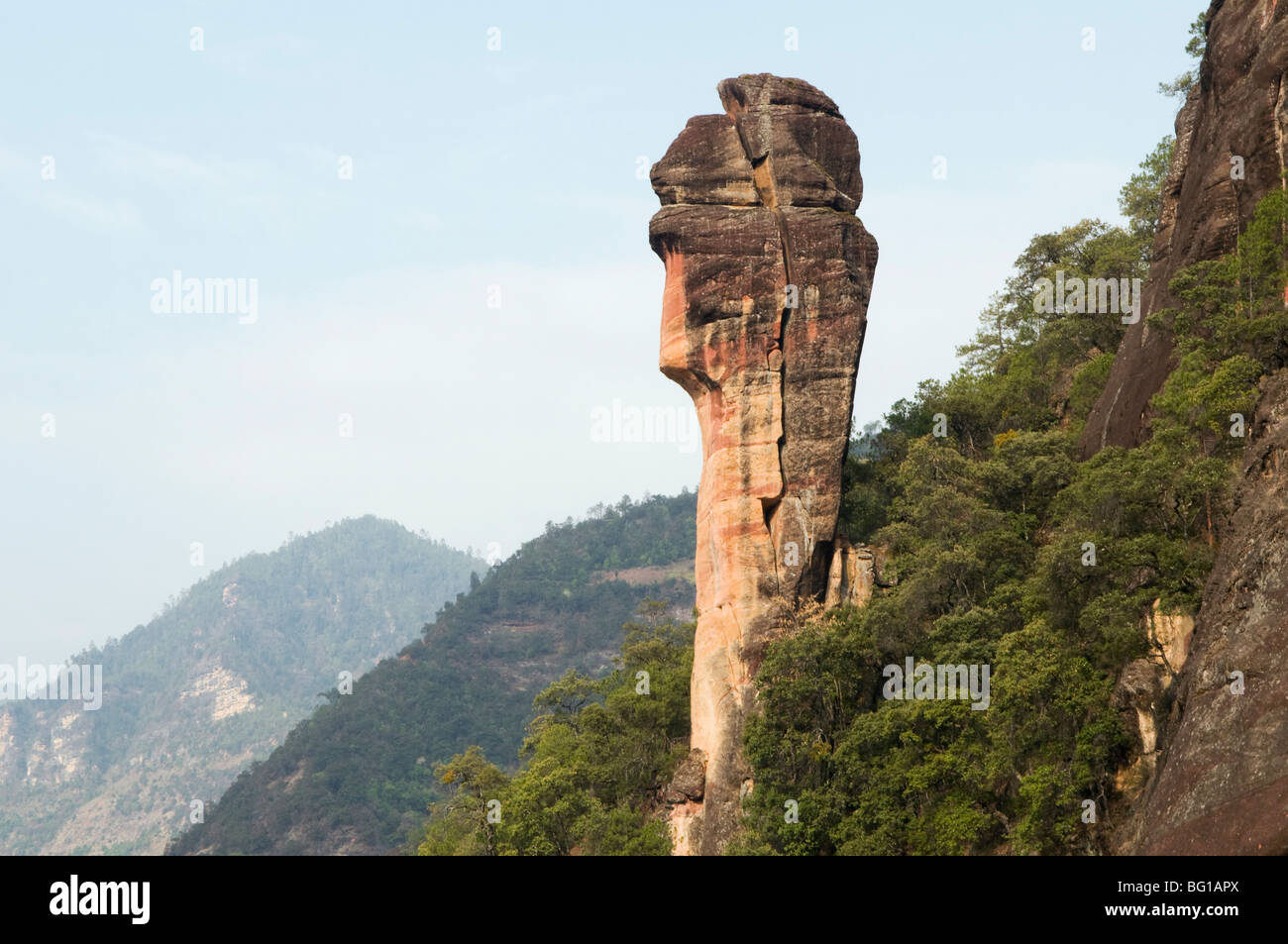Rock outcrop in Three Parallel Gorges National Park, UNESCO World Heritage Site, Liming town, Yunnan Province, China, - Stock Image