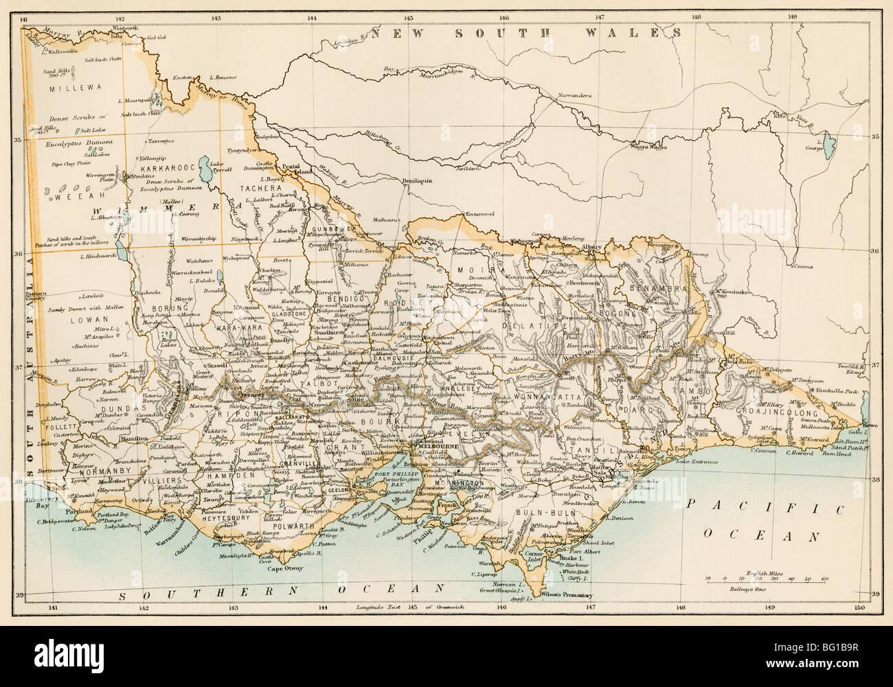 Map of Victoria, Australia, 1870s. Color lithograph - Stock Image
