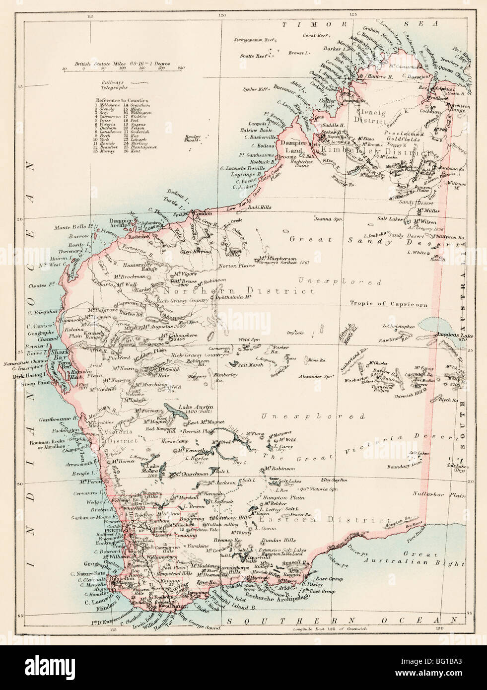 Map of Western Australia, 1870s. Color lithograph - Stock Image