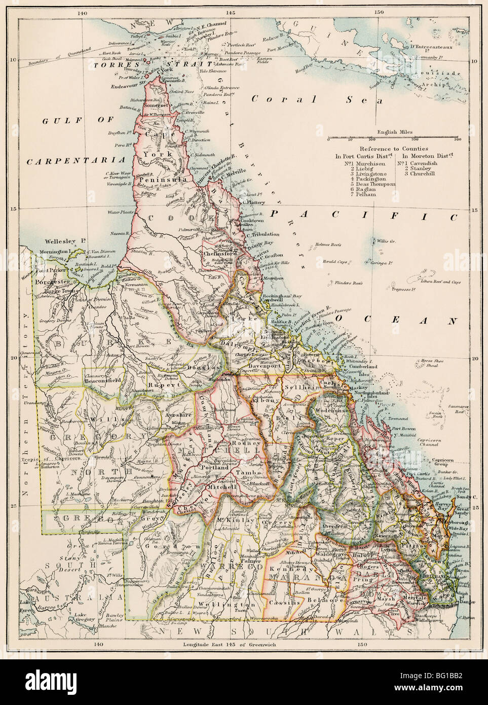 Map Of Queensland Australia.Map Of Queensland Australia 1870s Color Lithograph Stock Photo