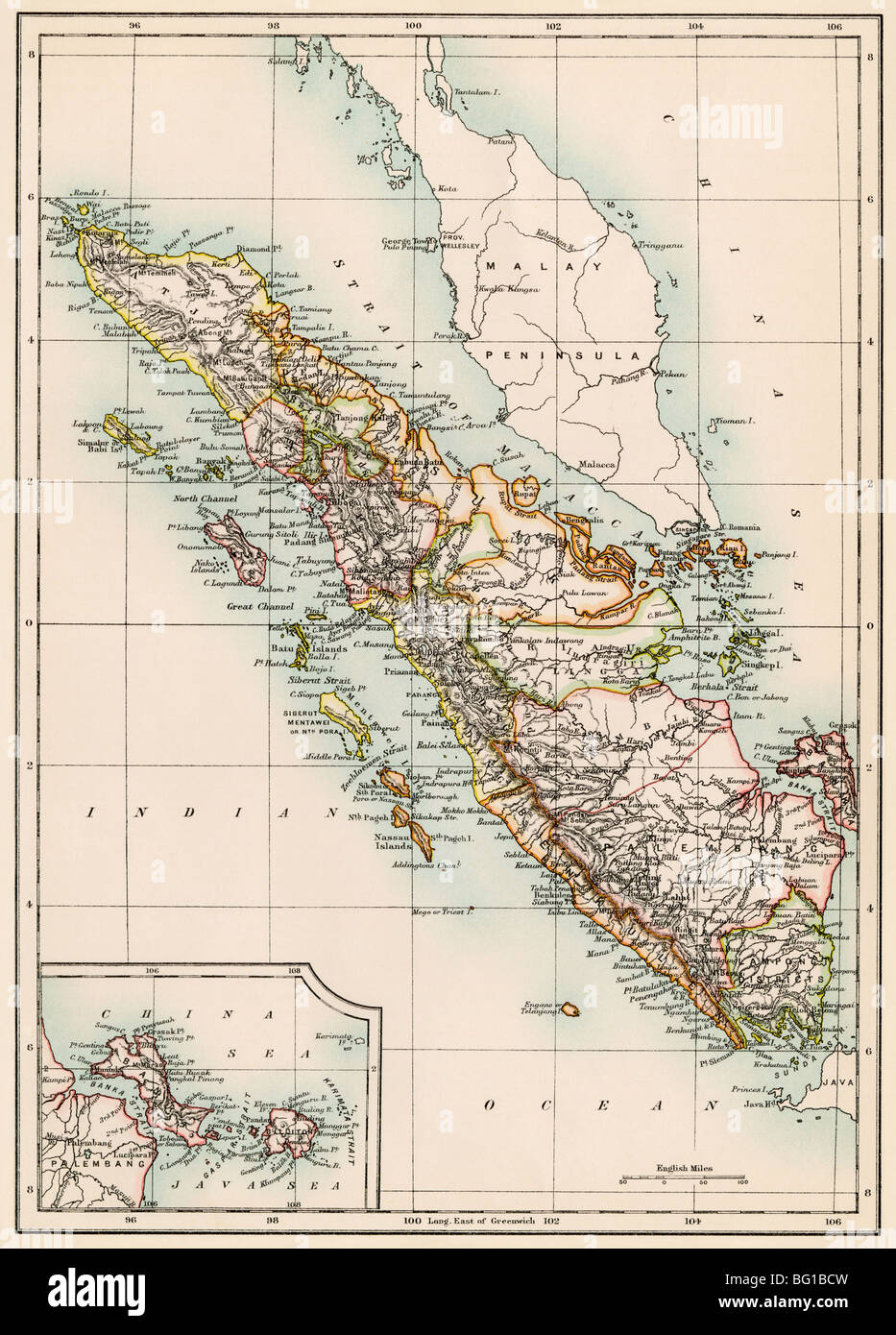 Map of Sumatra, 1870s. Color lithograph - Stock Image