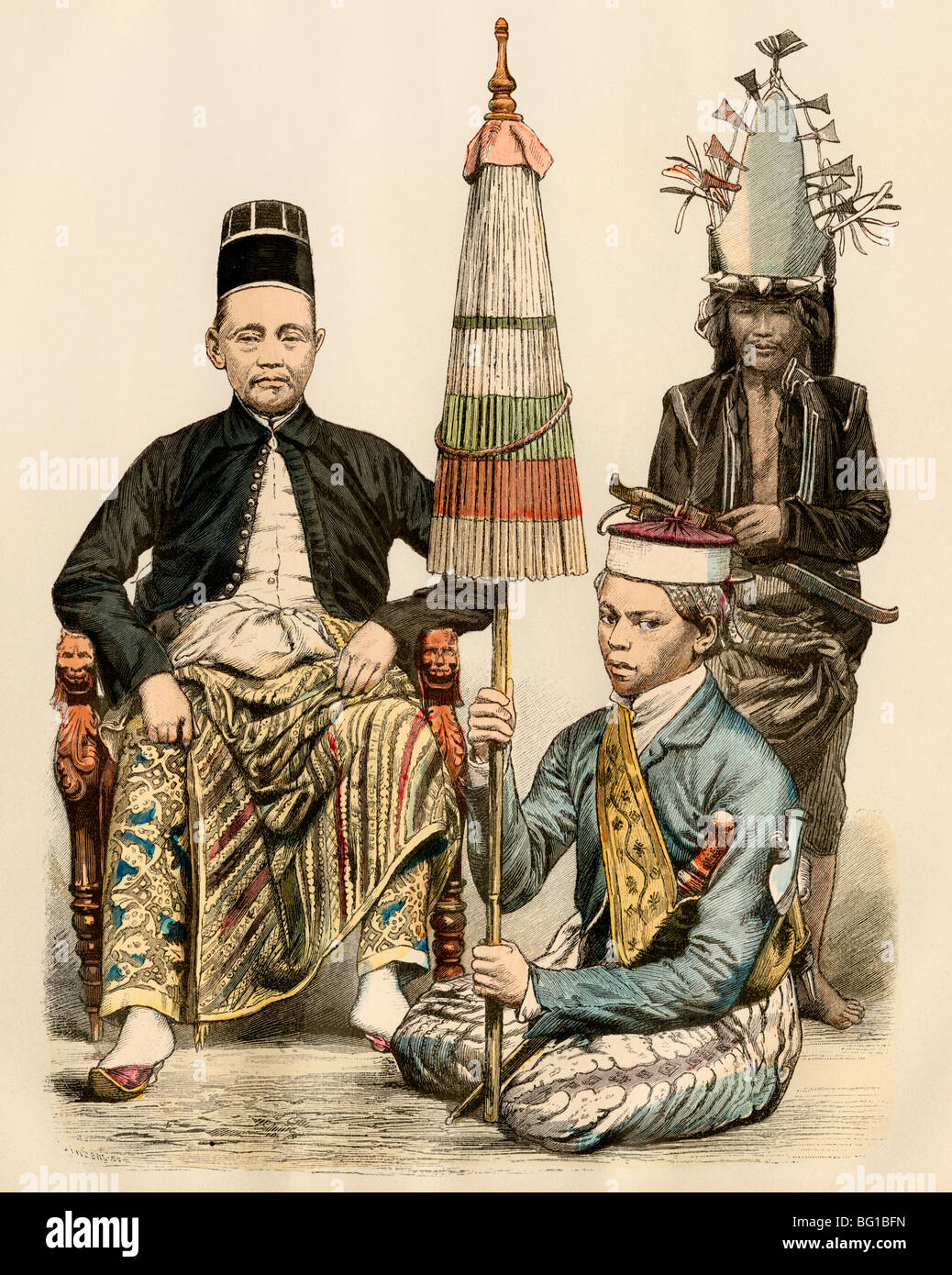 Regent of Java, his bodyguard, and an attendant, 1800s. Hand-colored print - Stock Image