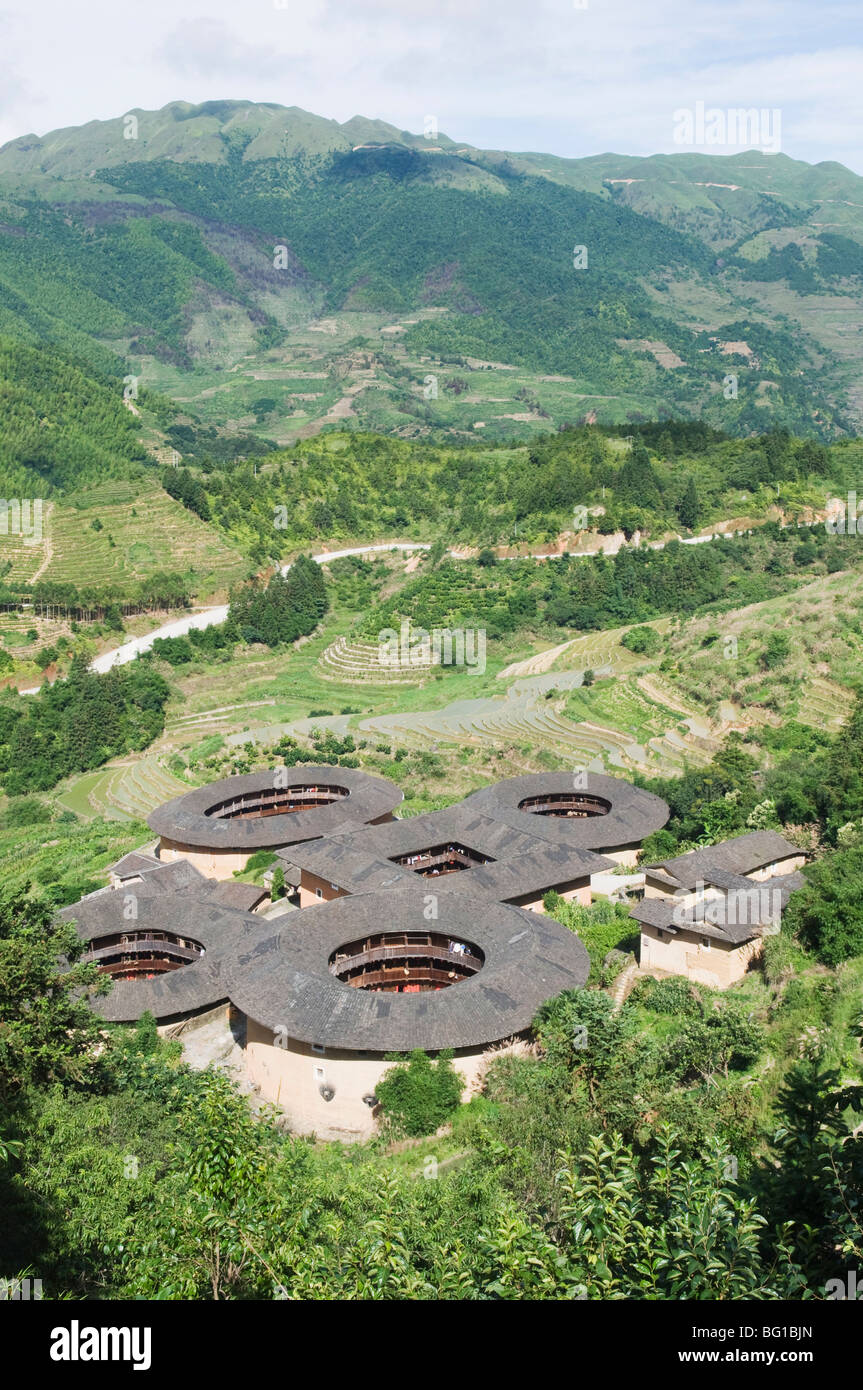 Hakka Tulou round earth buildings, UNESCO World Heritage Site, Fujian Province, China, Asia - Stock Image