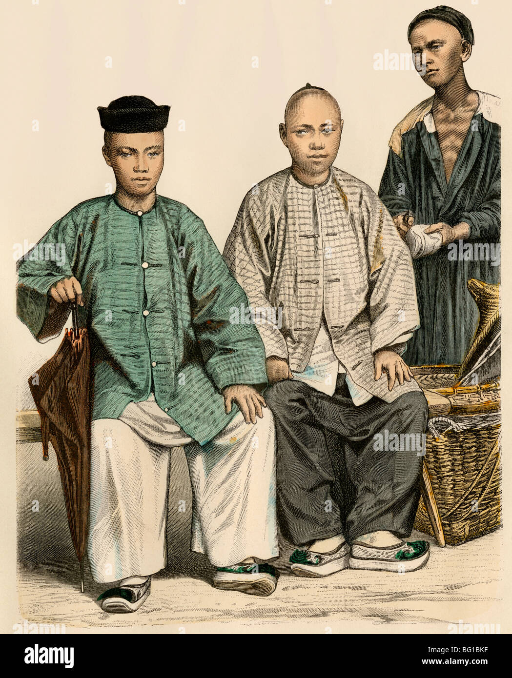 Chinese traders from the Straits Settlement and from Singapore (right), 1800s - Stock Image