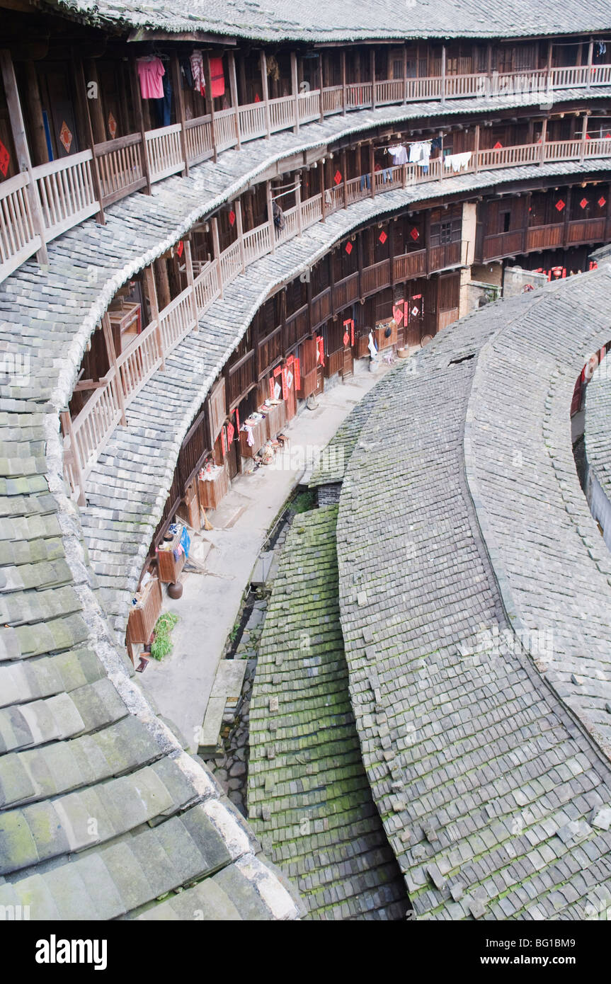 Hakka Tulou round earth buildings, Chengqilou, UNESCO World Heritage Site, Fujian Province, China, Asia - Stock Image
