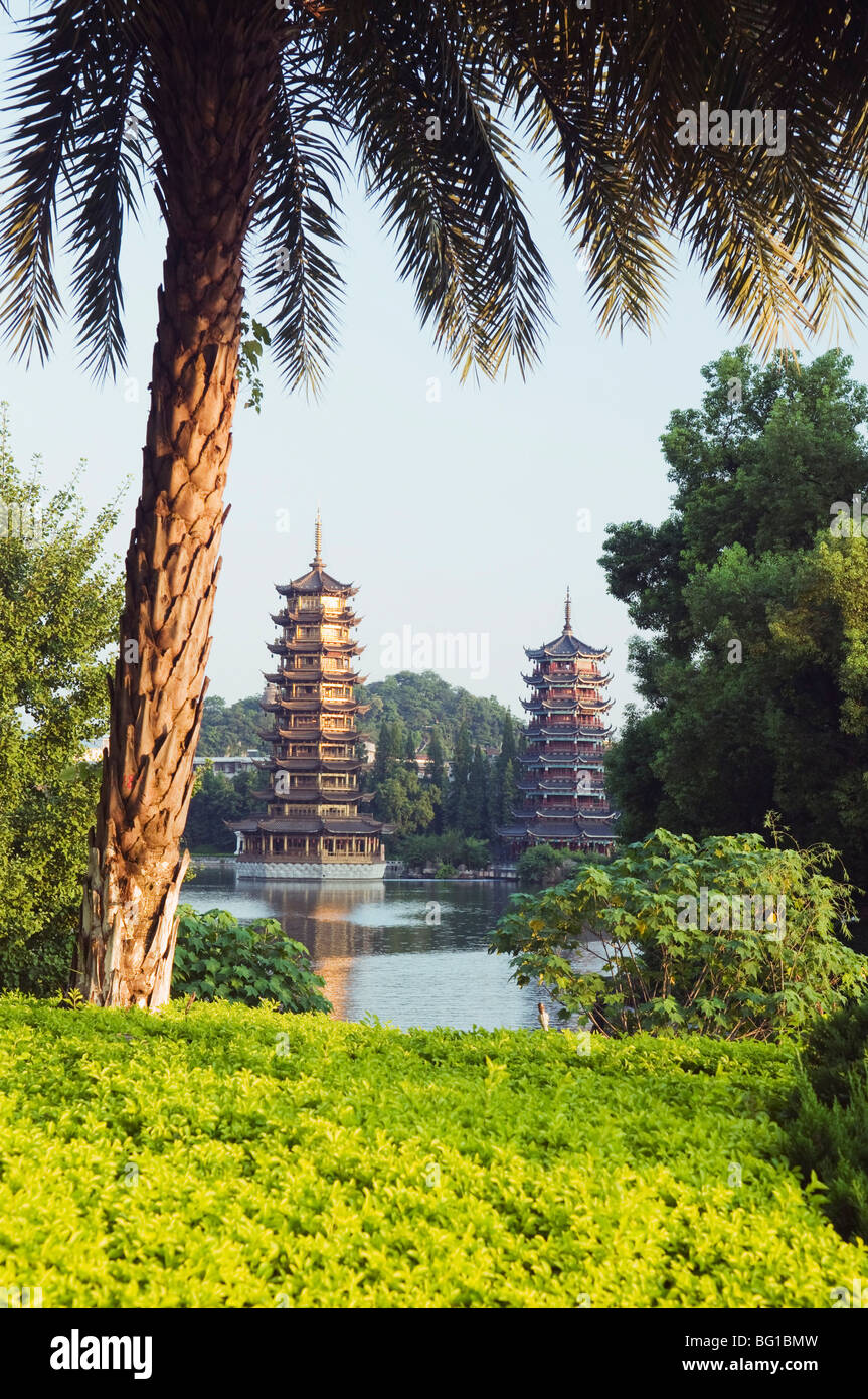 Banyan Lake Pagodas, Guilin, Guangxi Province, China, Asia Stock Photo