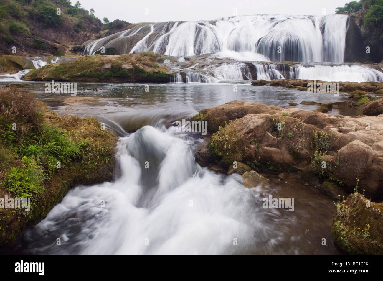 A cascade at Huangguoshu Falls, Guizhou Province, China, Asia Stock Photo