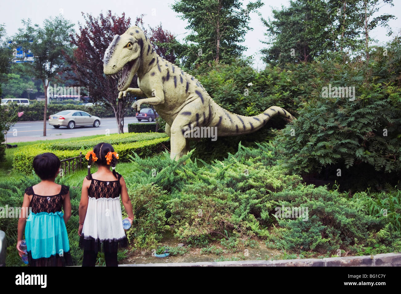 Dinosaur outside the Paleozoological Museum of China, Beijing, China, Asia - Stock Image