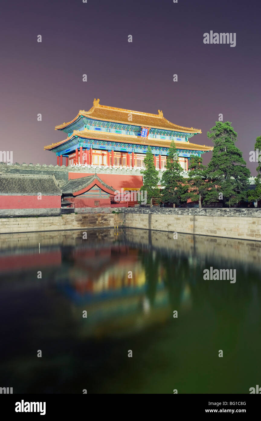 North gate of The Forbidden City reflected in a moat, Palace Museum, UNESCO World Heritage Site, Beijing, China, - Stock Image