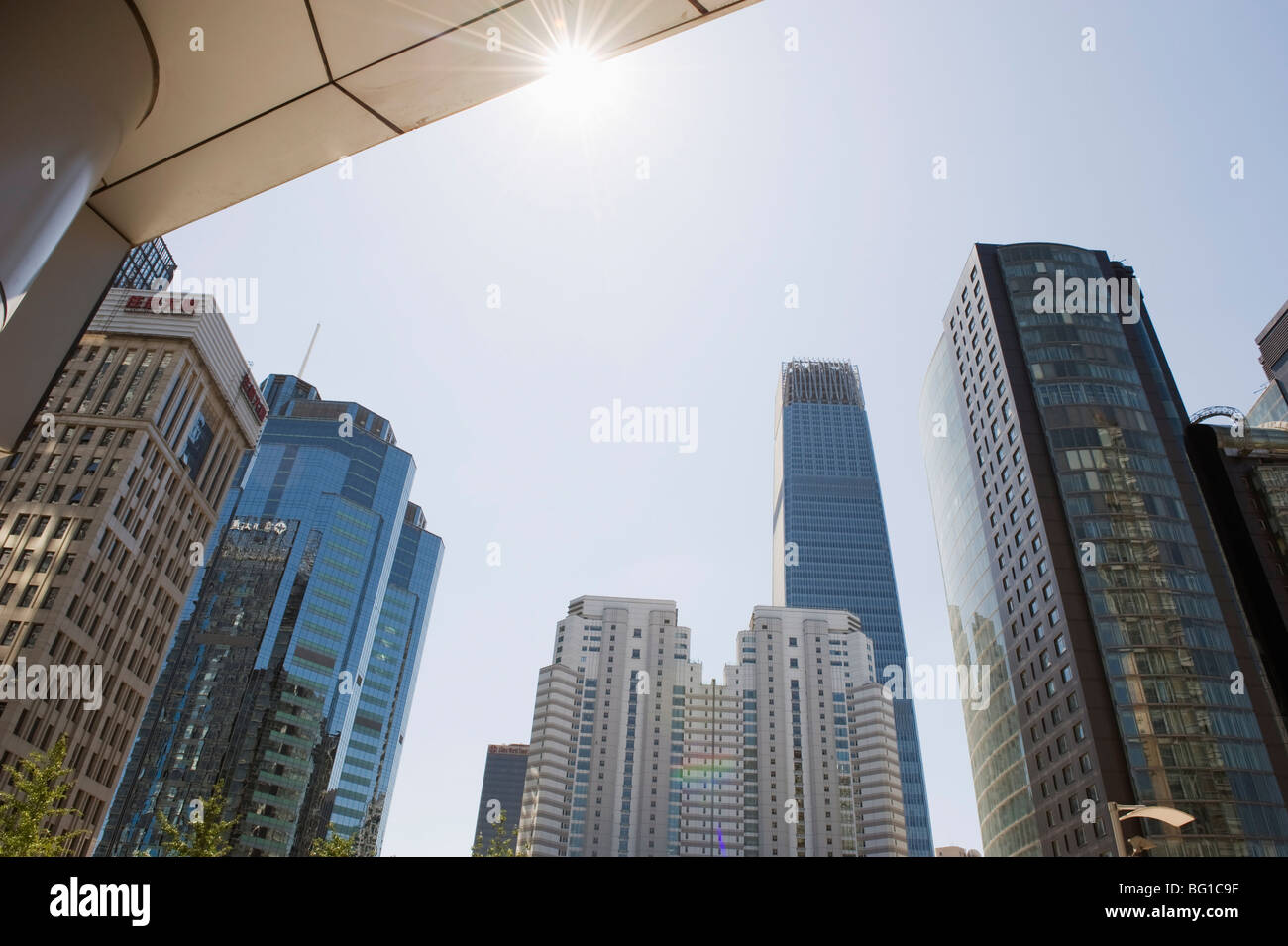 Skyline of offices and the World Trade Centre Phase 3 building in the background, in Guomao CBD, Beijing, China, - Stock Image