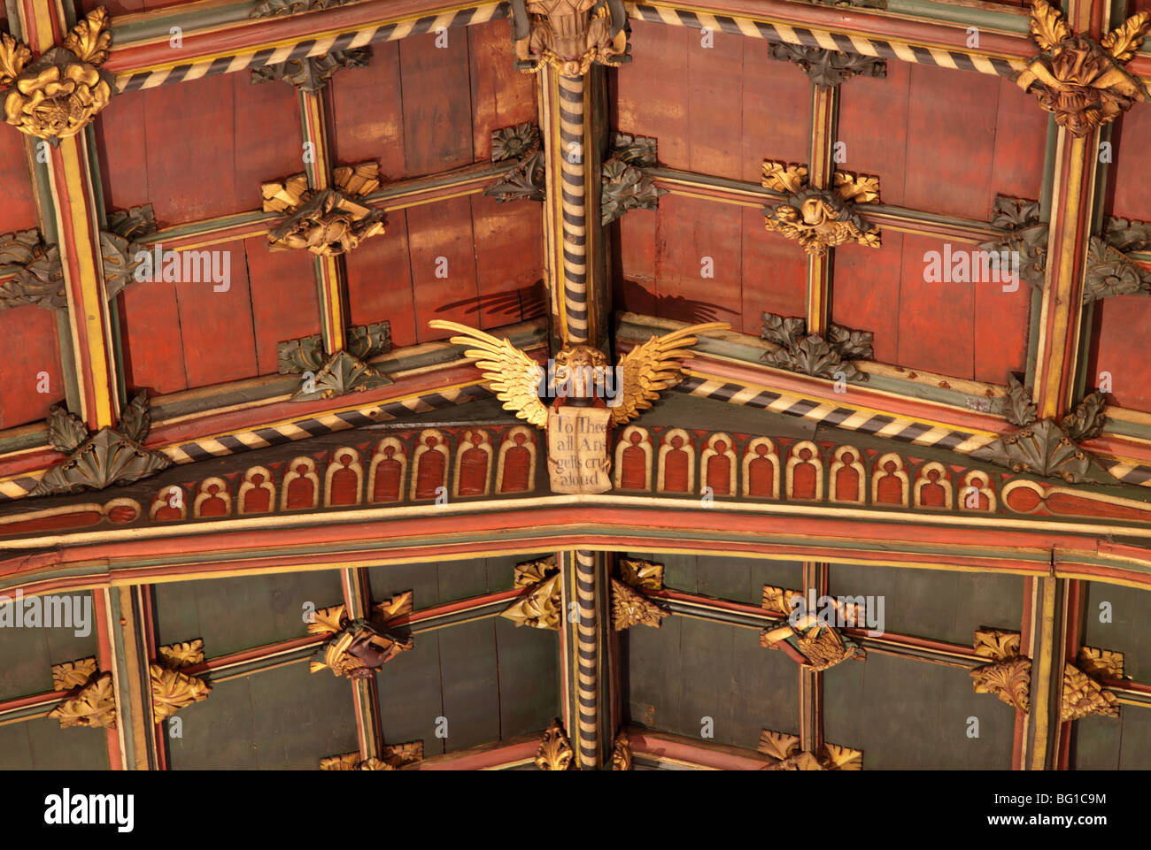 Intricate roof-space above the Chancel in St Laurence`s Church in Ludlow, Shropshire,adorned with carved timber Stock Photo