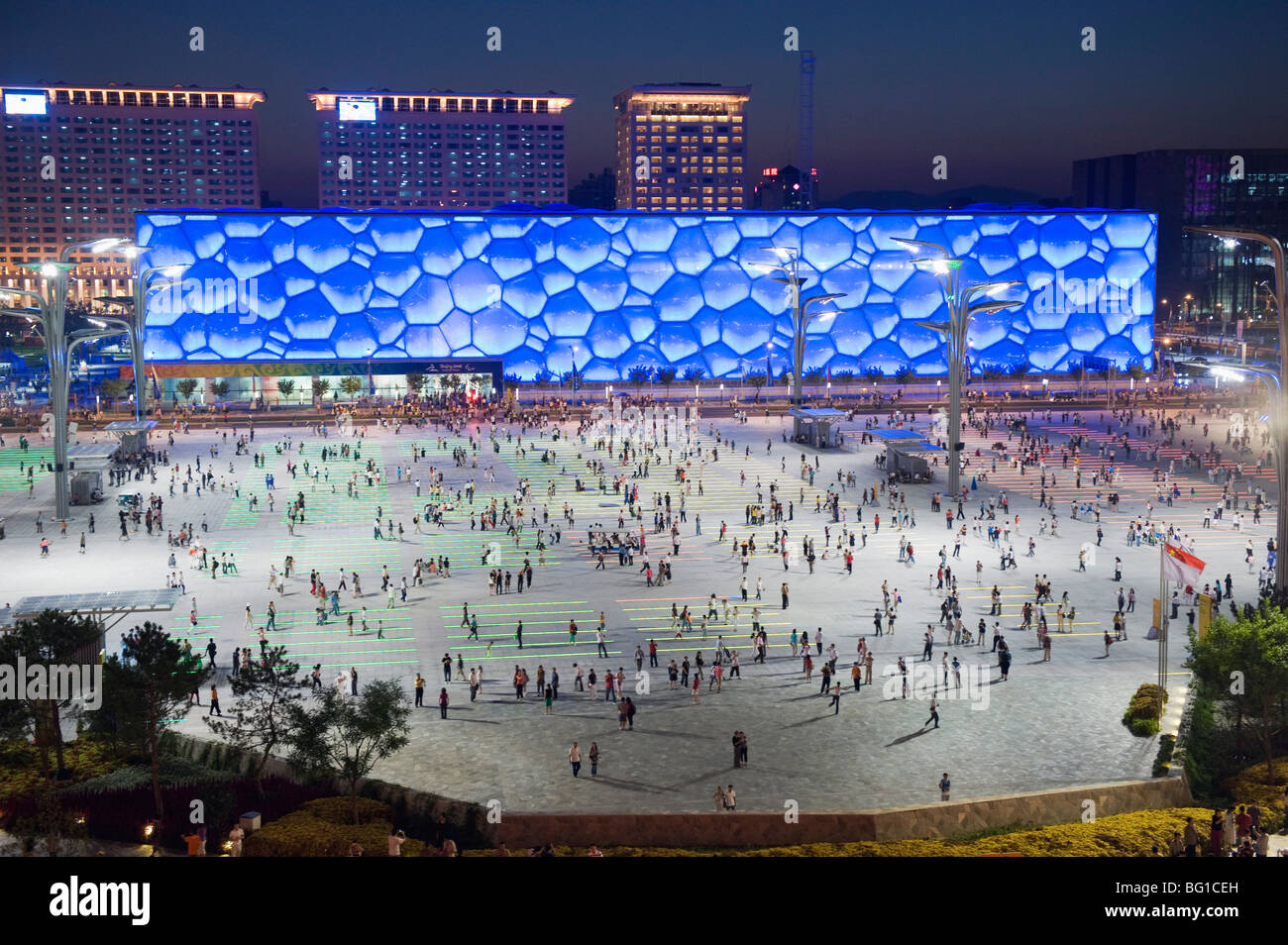 Night view of the Water Cube National Aquatics Center on the Olympic Green, Beijng, China, Asia - Stock Image
