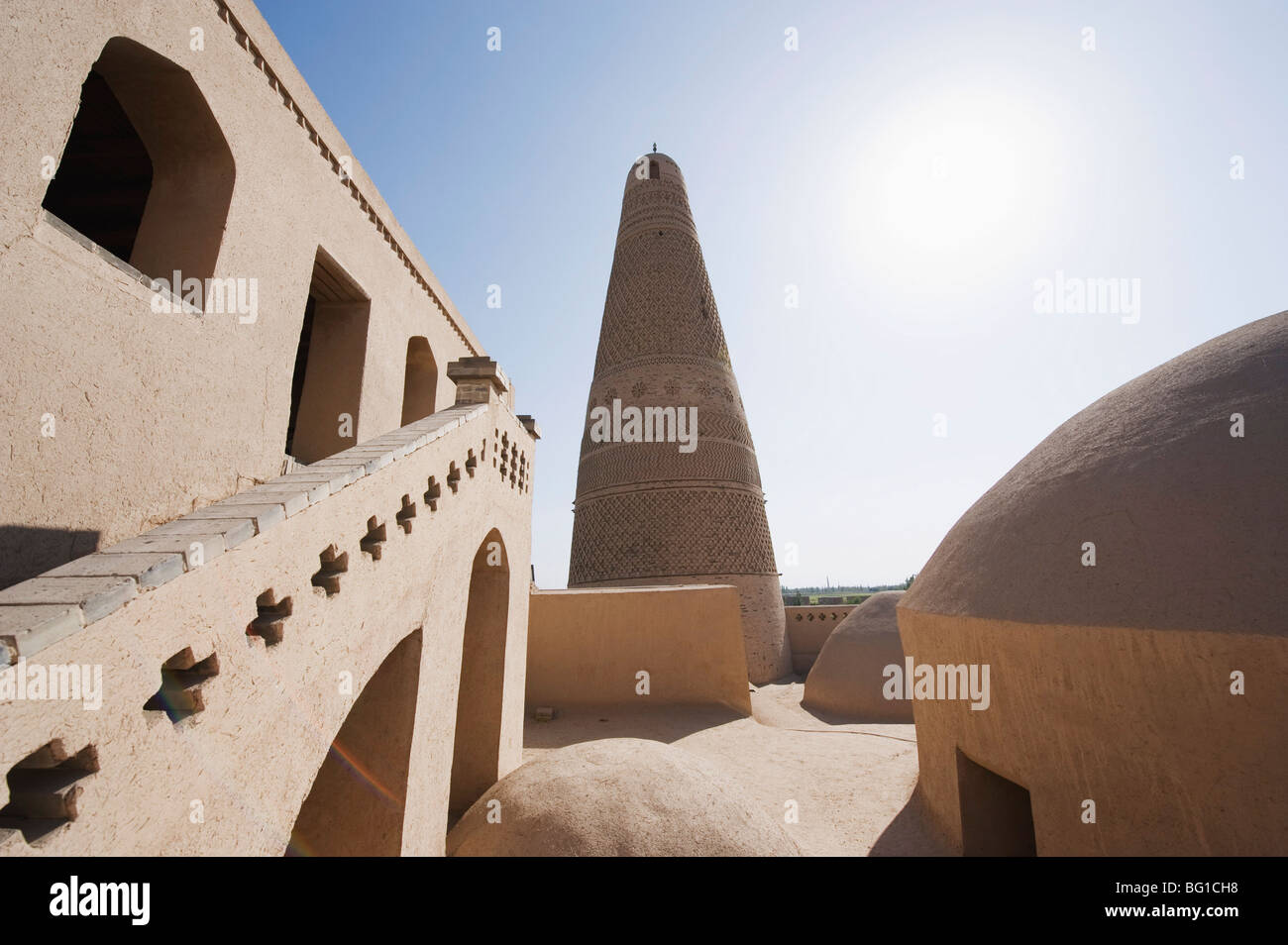 Emin Minaret, Turpan on the Silk Route, UNESCO World Heritage Site, Xinjiang Province, China, Asia - Stock Image