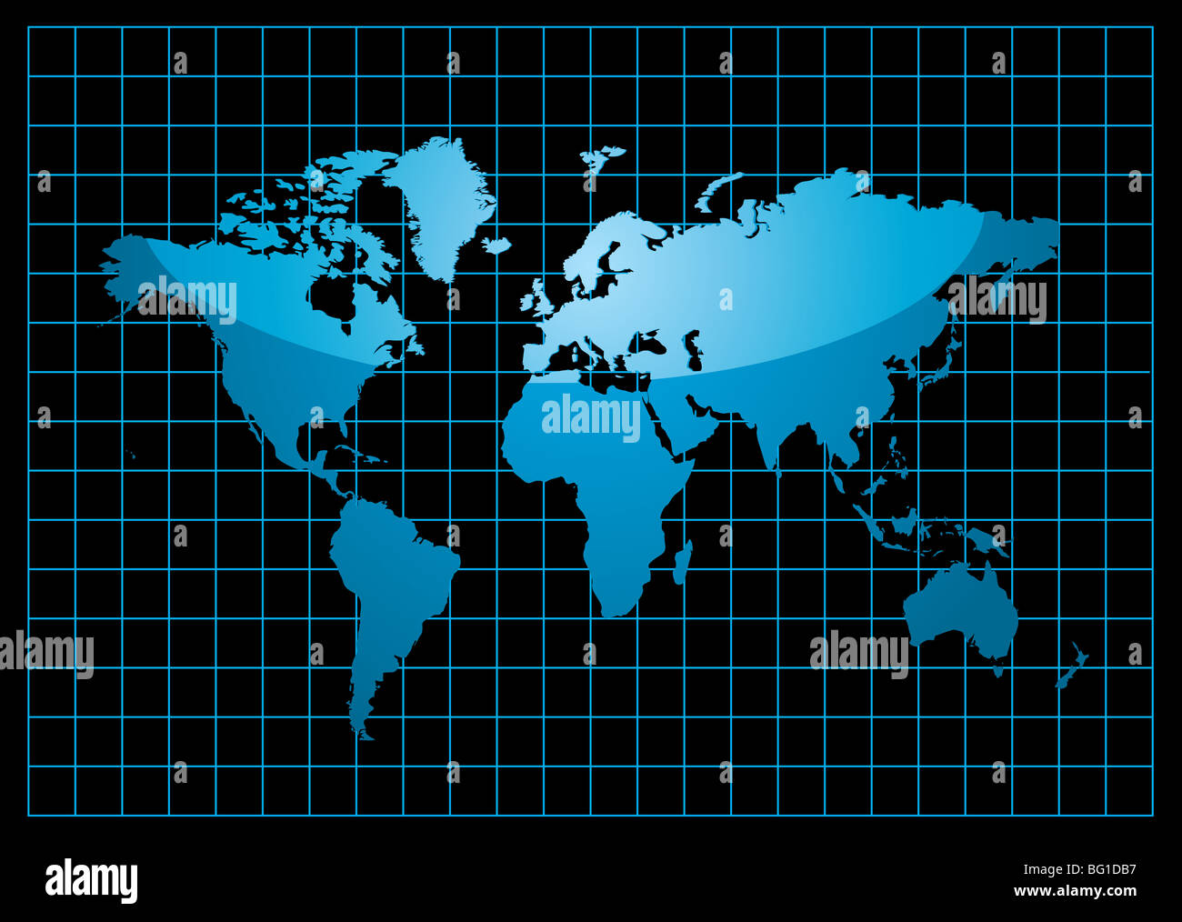Blue world map with light reflection and grid on a black background blue world map with light reflection and grid on a black background gumiabroncs Images