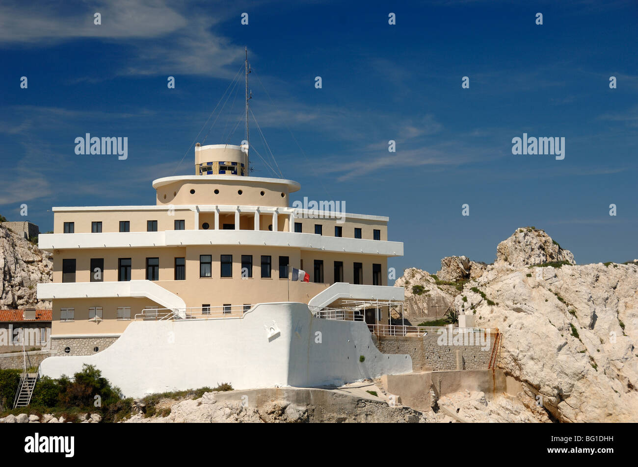 Boat-Shaped Pilotage Station Building in Shape of Ship or Boat, Île Ratonneau Island, Frioul, Marseille or Marseilles, Stock Photo