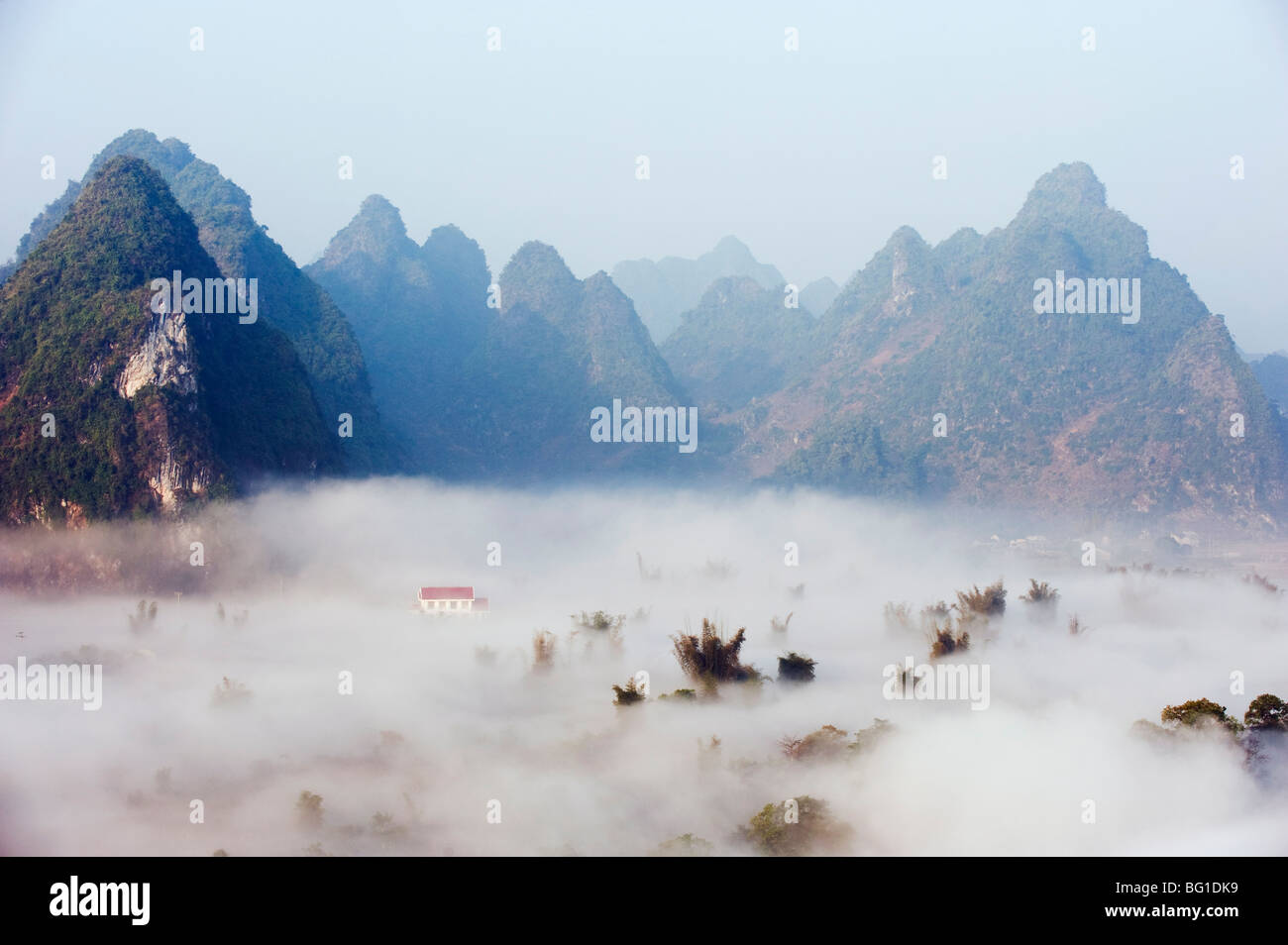 Morning mist covering the valley at Detian Falls, Guangxi Province, China, Asia Stock Photo