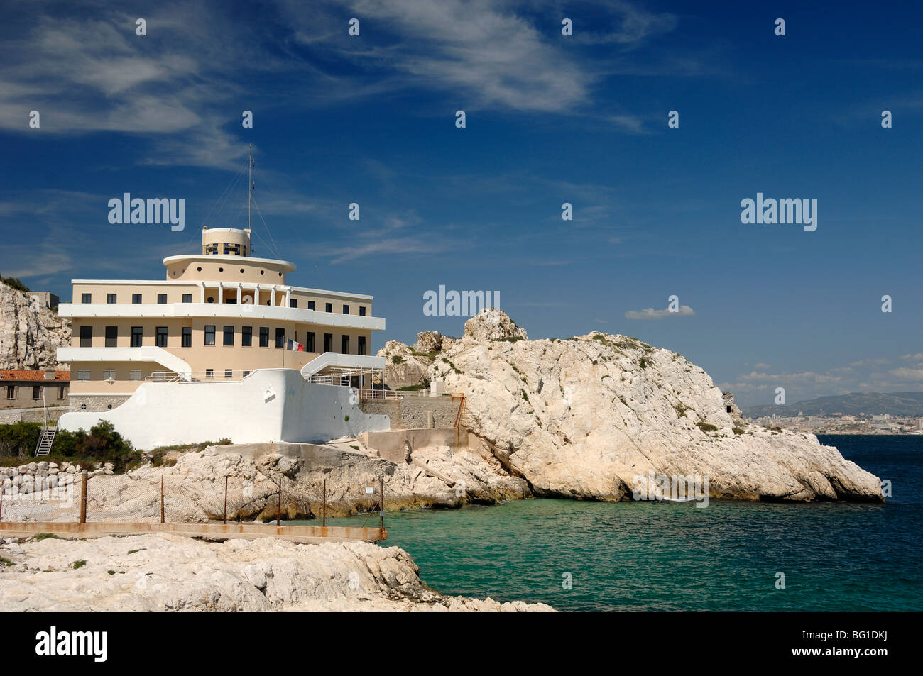 Boat-Shaped Pilotage Station Building in Shape of Ship or Boat, Île Ratonneau Island, Frioul, Marseille Marseilles, - Stock Image