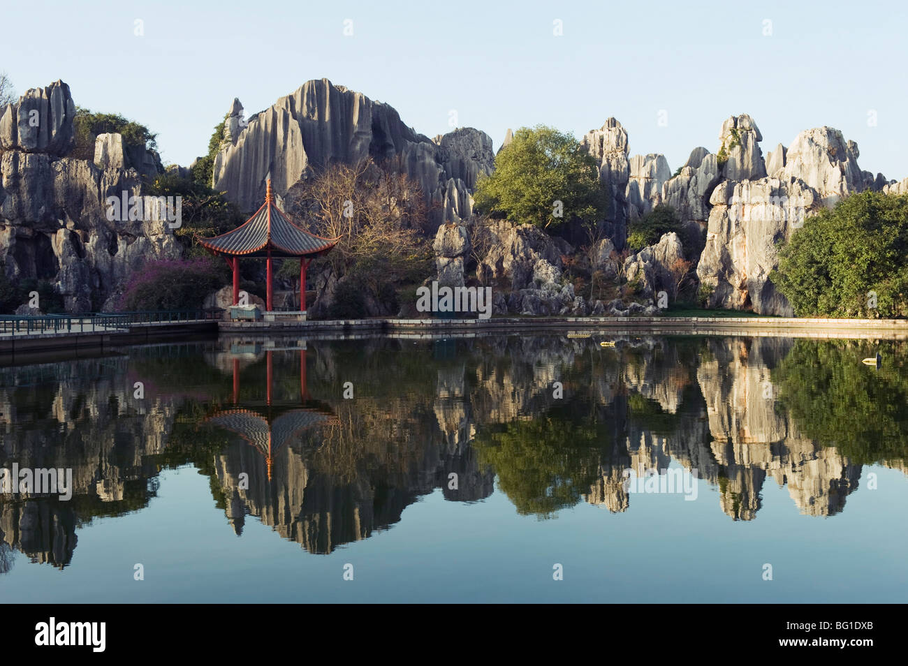 Reflection of karst scenery at Shilin Stone Forest, UNESCO World Heritage Site, Yunnan Province, China, Asia Stock Photo