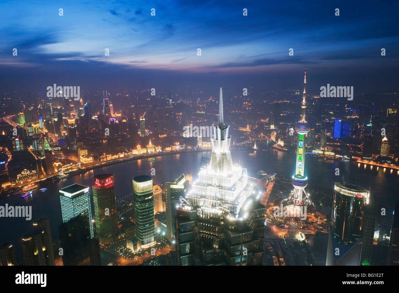 Jinmao and Pearl Towers and Pudong skyline, Shanghai, China, Asia - Stock Image