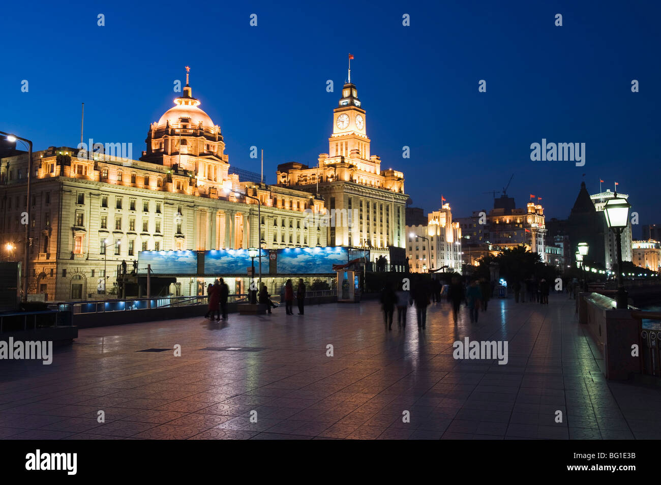 Historical colonial style buildings illuminated on The Bund, Shanghai, China, Asia - Stock Image
