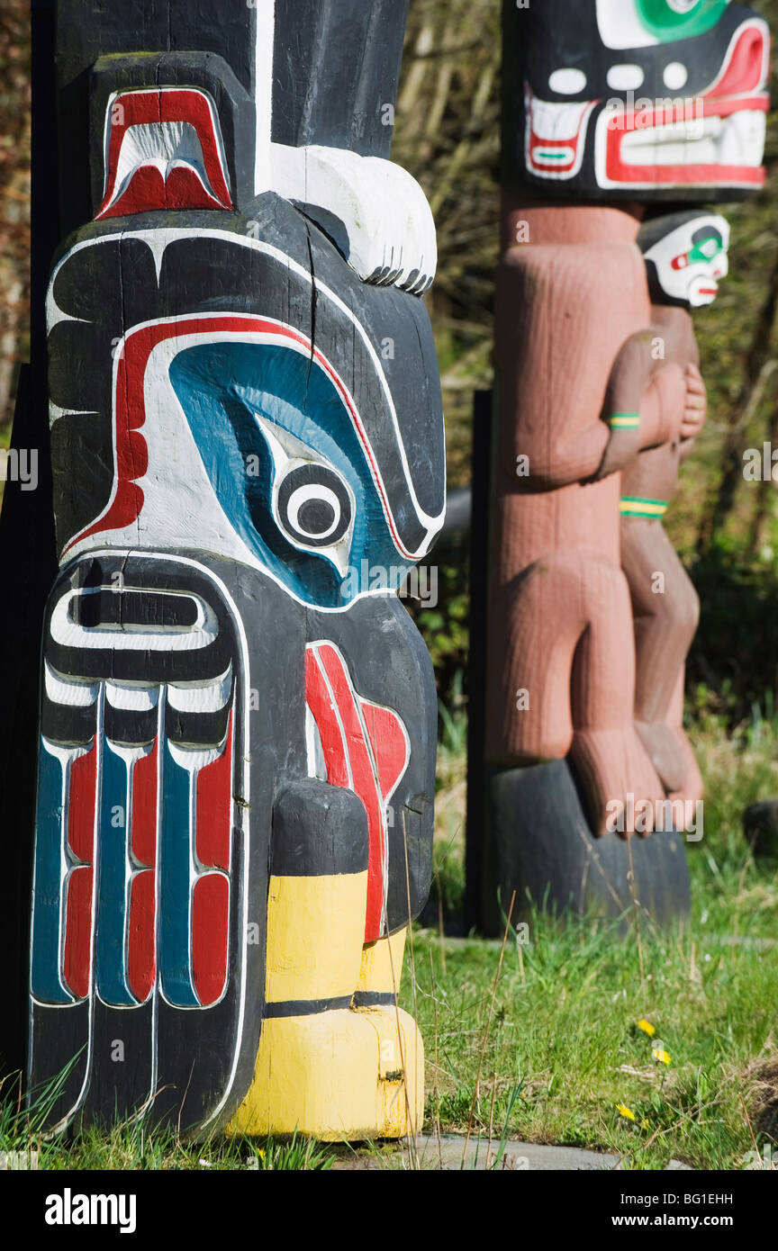 First Nation totem pole in Stanley Park, Vancouver, British Columbia, Canada, North America - Stock Image