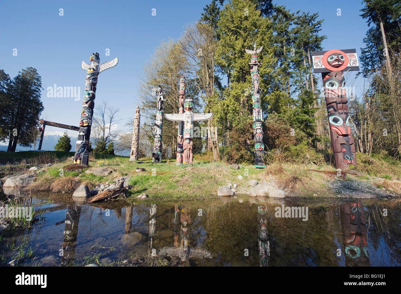 First Nation totem poles in Stanley Park, Vancouver, British Columbia, Canada, North America - Stock Image
