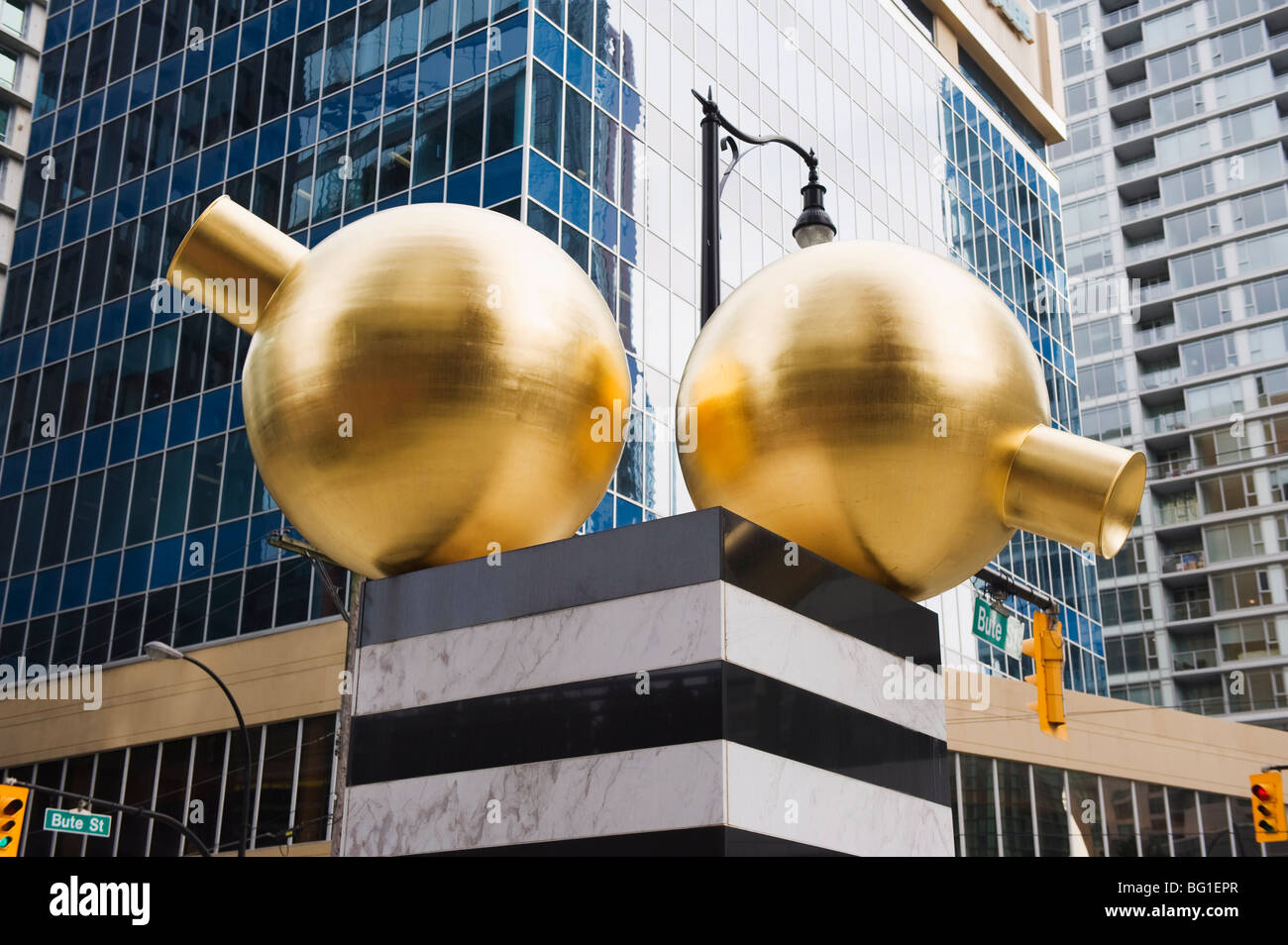 Gold ball monument, downtown, Vancouver, British Columbia, Canada, North America - Stock Image