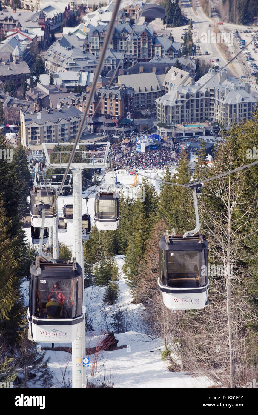 Cable car above Whistler resort, venue of the 2010 Winter Olympic Games, British Columbia, Canada, North America - Stock Image