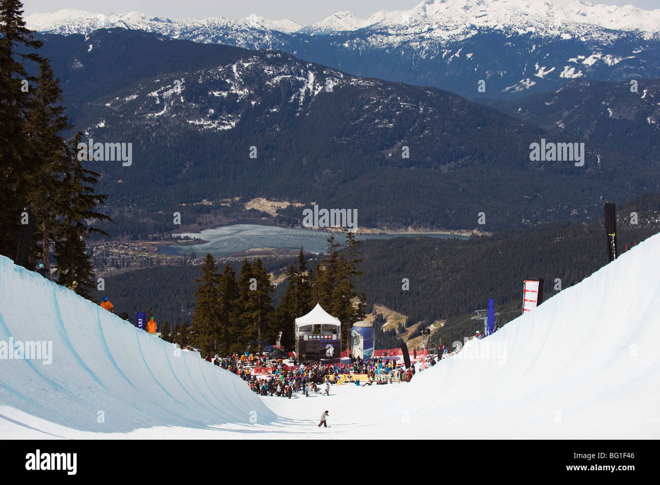 Telus Festival half pipe competition, Whistler mountain resort, venue of 2010 Winter Olympic Games, British Columbia, - Stock Image
