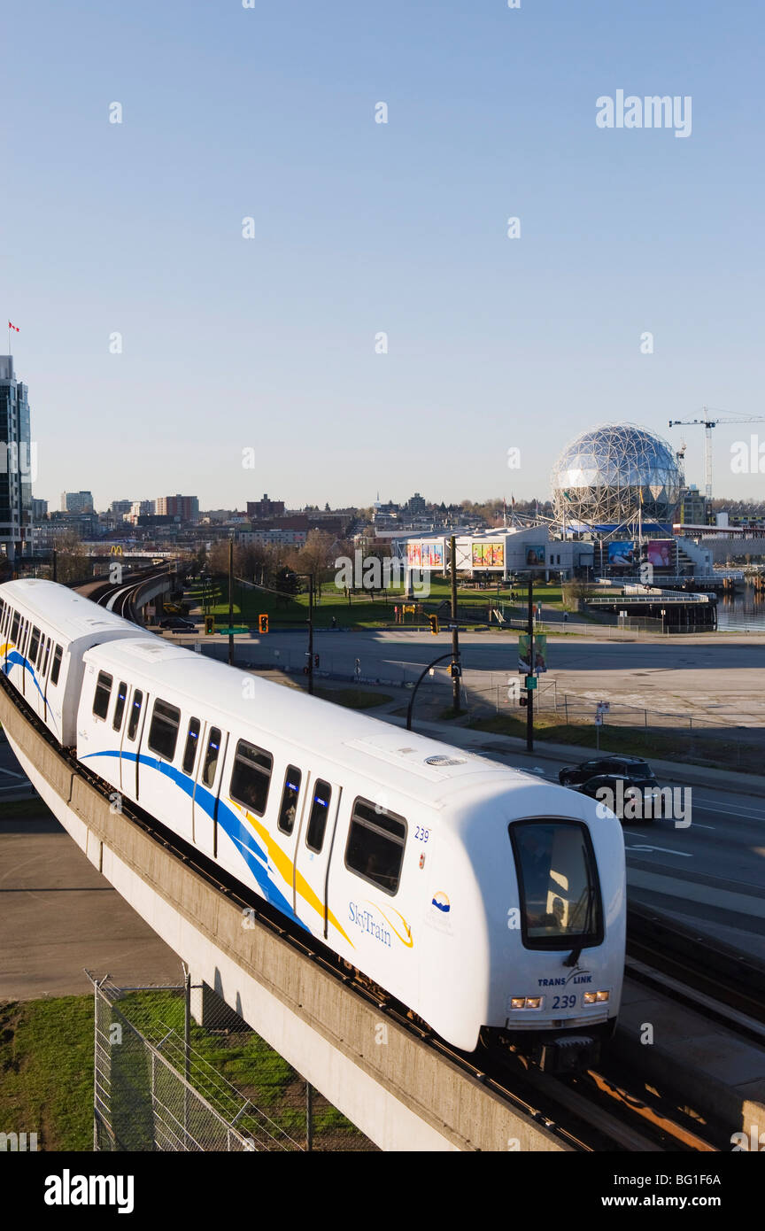 The SkyTrain in front of Telus Science World, Vancouver, British Columbia, Canada, North America Stock Photo