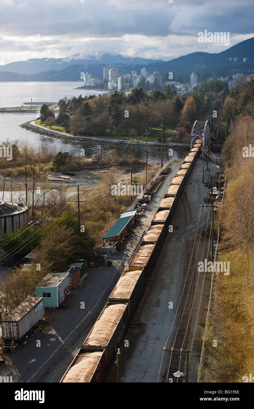 Freight train carrying grain, Vancouver, British Columbia, Canada, North America - Stock Image