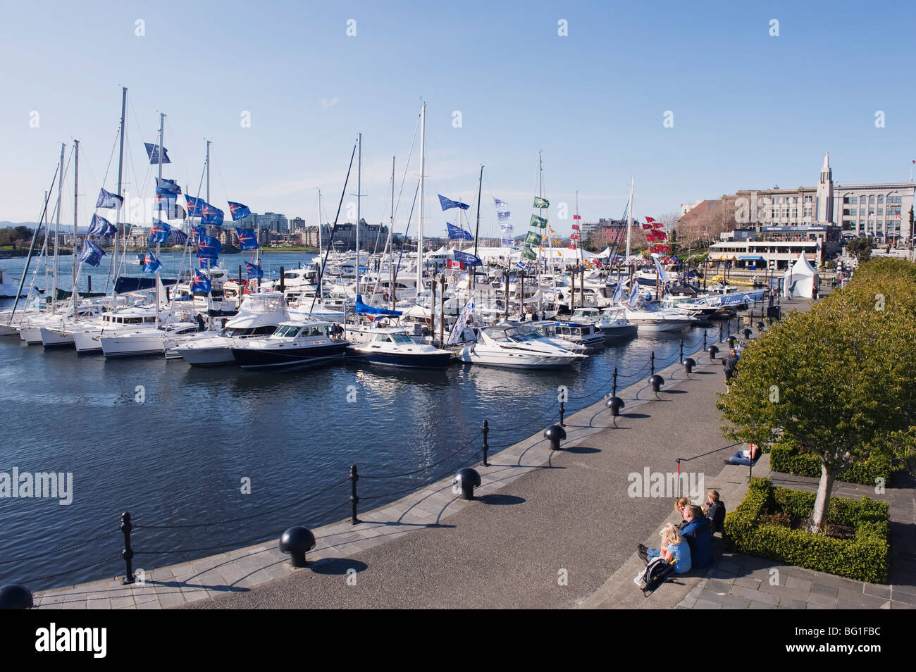 Boats on James Bay Inner Harbour, Victoria, Vancouver Island, British Columbia, Canada, North America - Stock Image