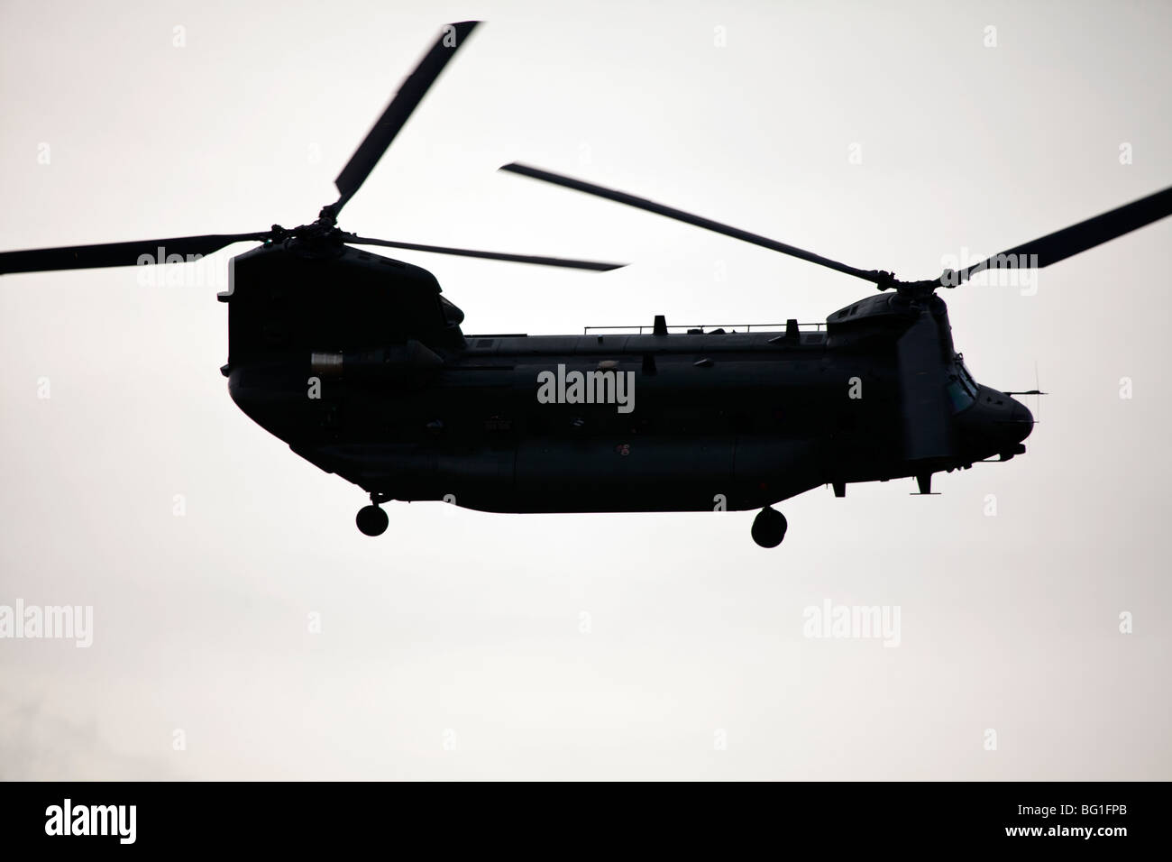 CH-47 Chinook helicopter in flight for the RAF at Donna Nook, Somercoates, lincolnshire, England - Stock Image
