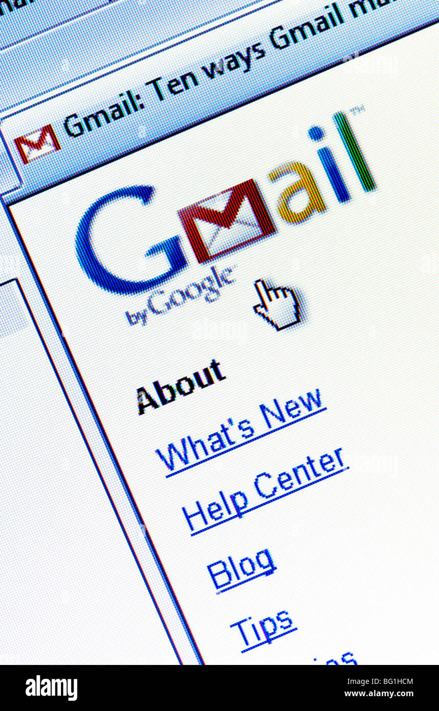 Screenshot of the GMail website (aka Google Mail) - the free email