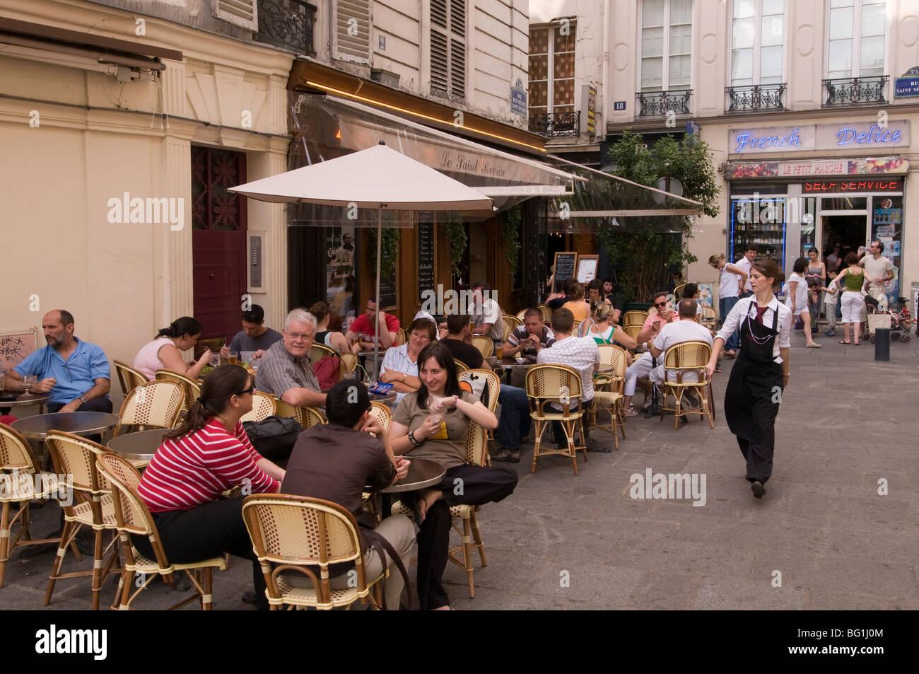 Bistrot, Rue Saint-Severin, Quartier Latin, Paris, France, Europe - Stock Image