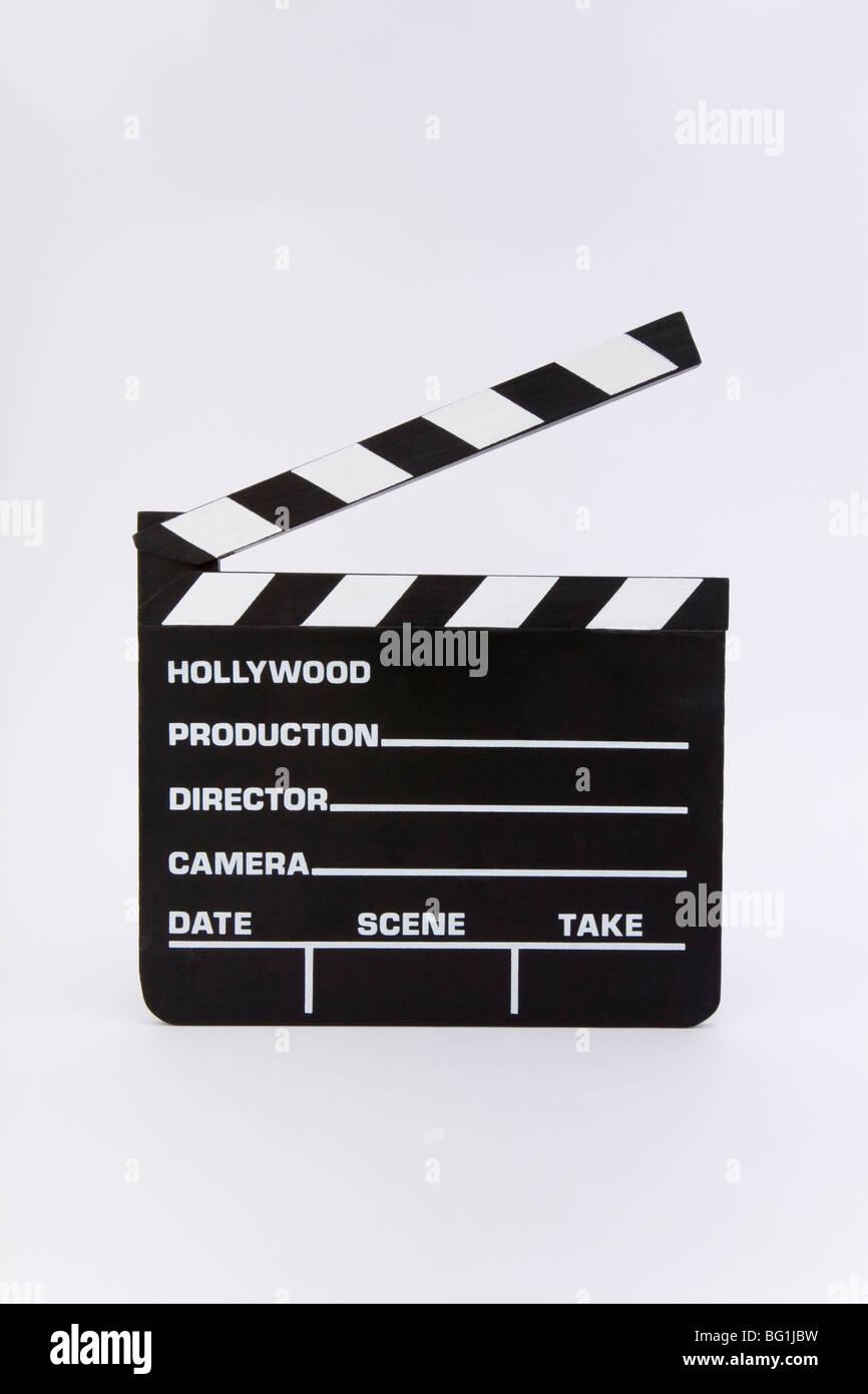 Movie clapper board slate chalkboard Hollywood title take film production movie roll cut director edit movie studio - Stock Image