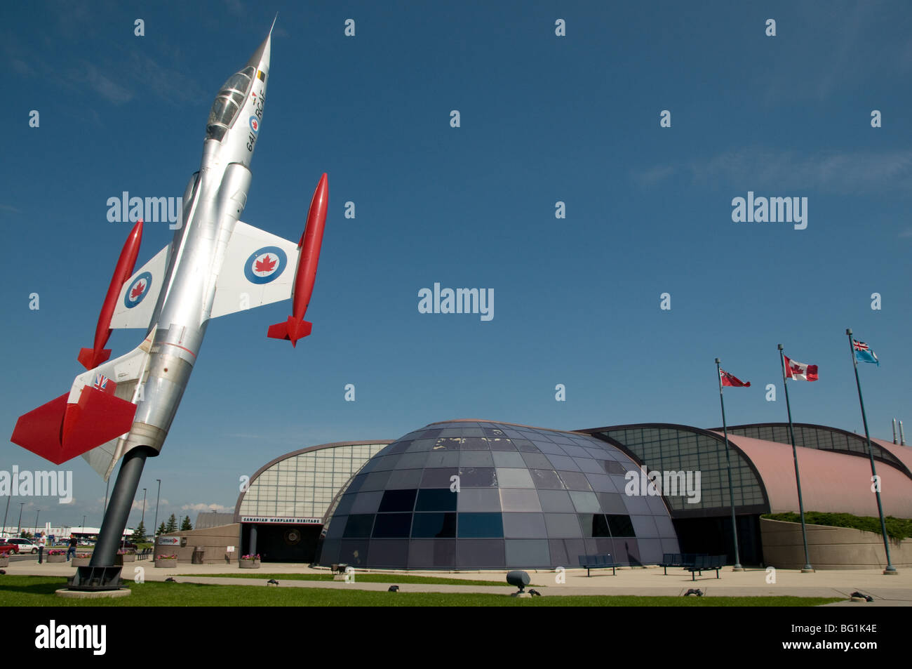 A Lockheed F104 Starfighter is mounted facing to the sky outside the Canadian Warplane Heritage museum, Mount Hope, - Stock Image