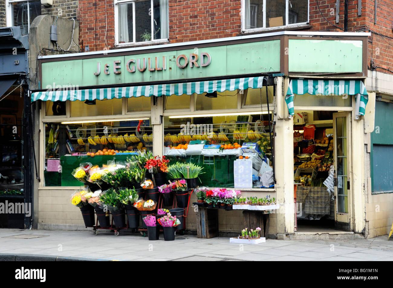Traditional local Greengrocer's shop Highbury Barn London England UK - Stock Image