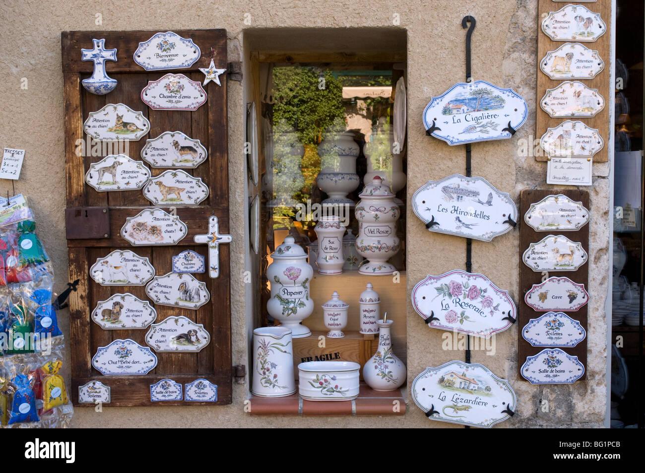 Faience pottery, Moustiers-Sainte-Marie, Alpes-de-Haute-Provence, Provence, France, Europe Stock Photo