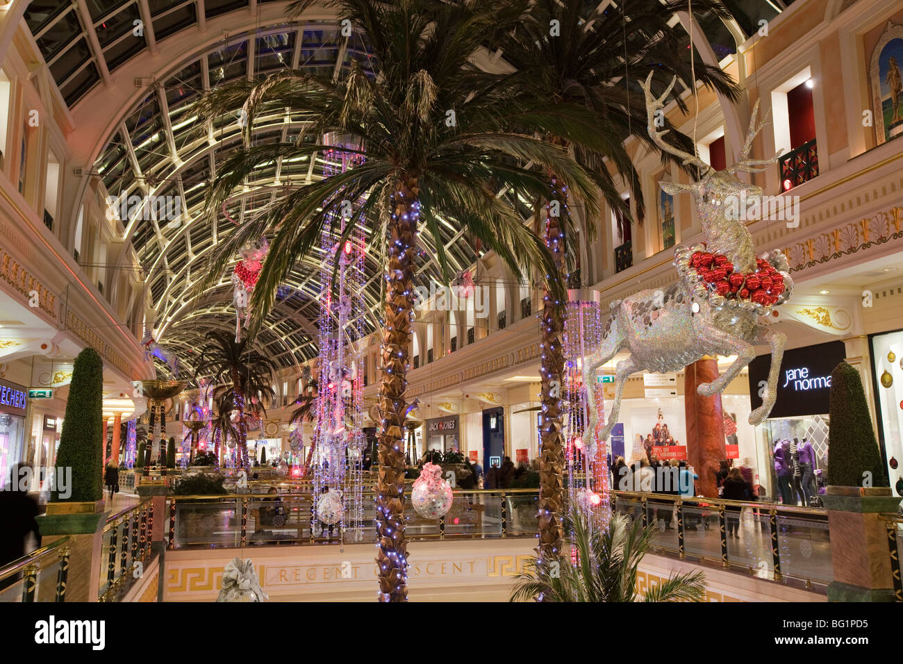 UK, England, Manchester, Trafford Centre, shopping mall decorated for Christmas flying reindeer decorations - Stock Image