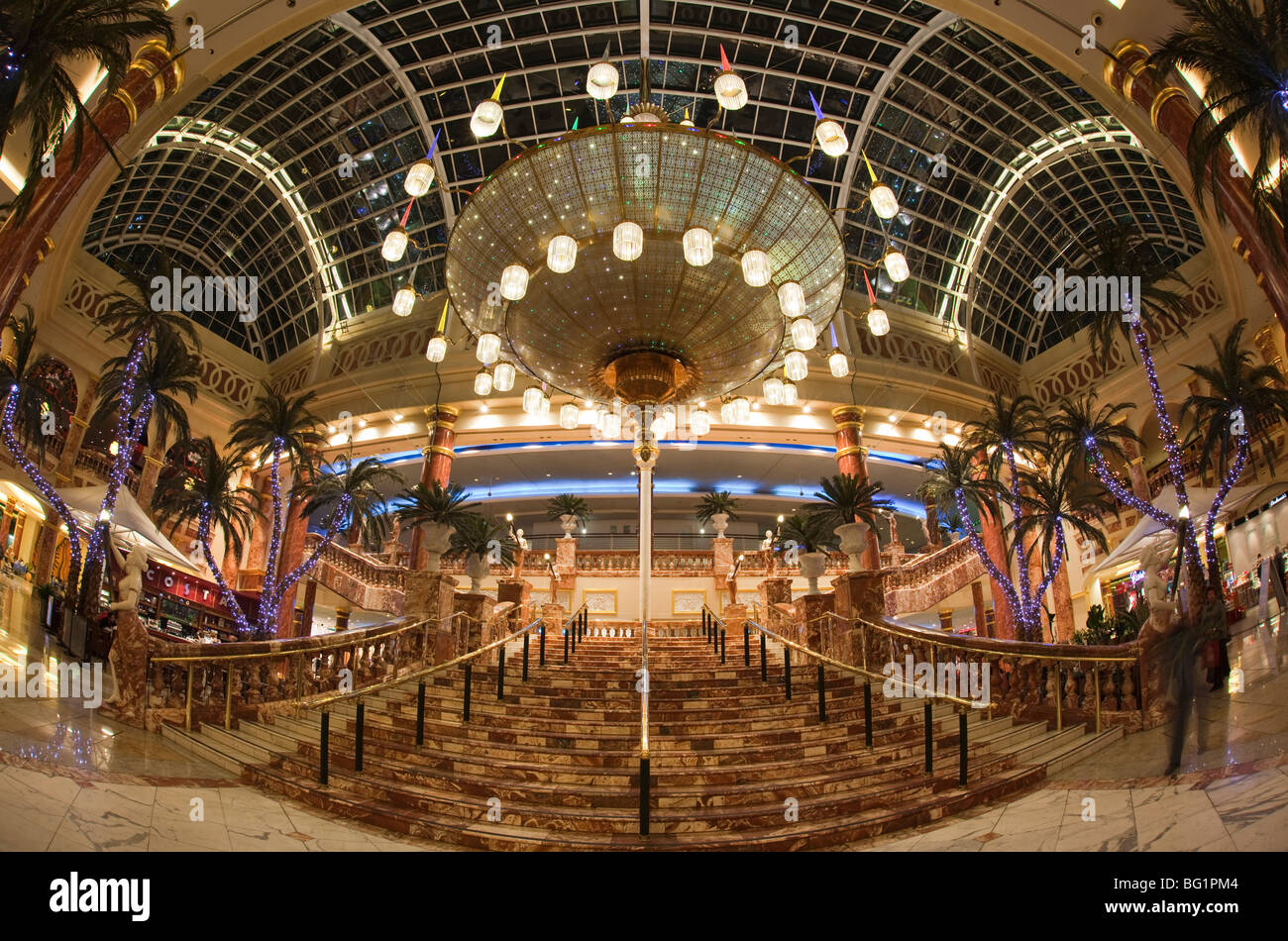 UK, England, Manchester, Trafford Centre shopping mall, Orient Great Hall decorated for Christmas wide angle view Stock Photo